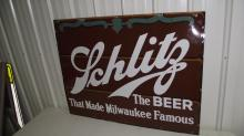 PORCELAIN SCHLITZ THE BEER THAT MADE NILWAUKEE FAMOUS SIGN