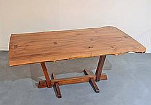Very Rare Bloody Birch Conoid Dining Table by George Nakashima, 1975