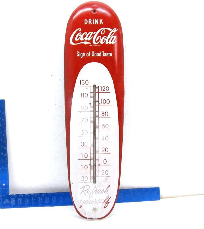 """1950 ORIGINAL Tin Coca-Cola 30"""" Thermometer"""