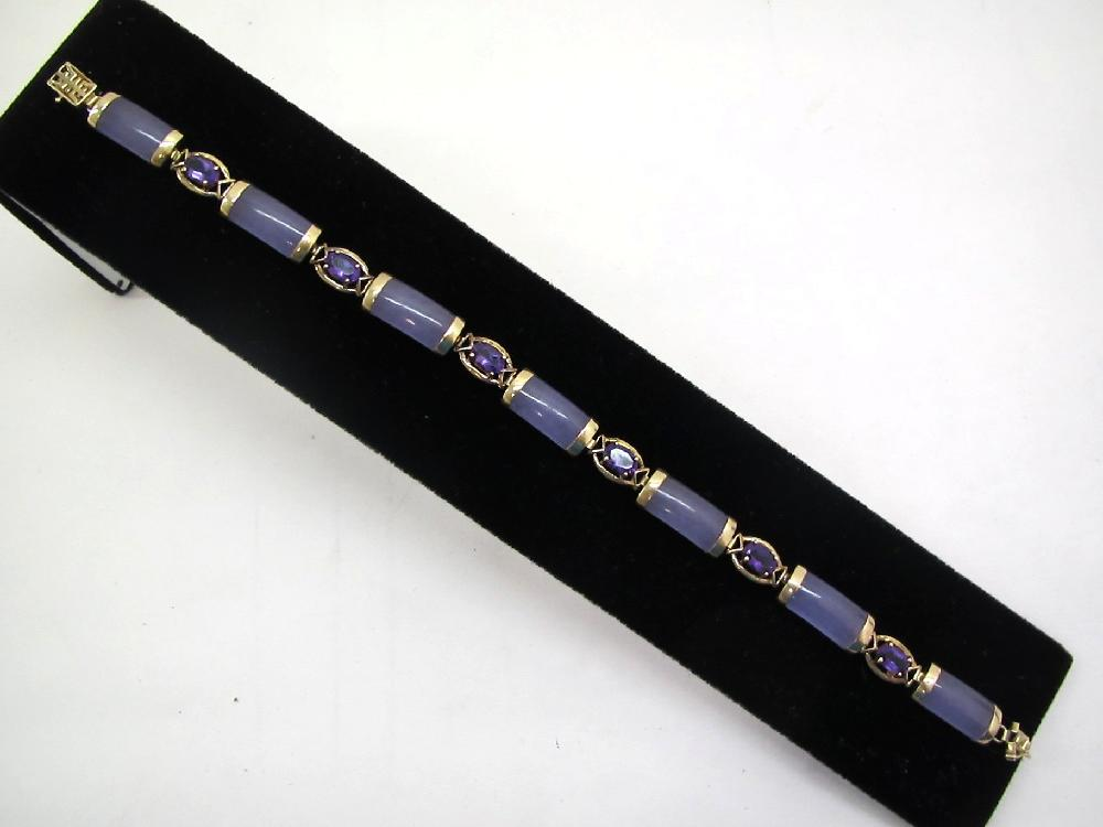 14kt Gold Purple Jade & Amethyst Bracelet