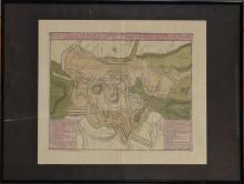 Gravure : Carte aquarellée - Plan de la bataille de Malplaquet 1709 -