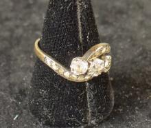 Bijou : Bague en or jaune 18K sertie de brillants et diamants taille rose