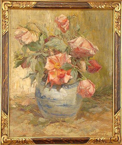 TIELENS A. - Tableau HST -Vase fleuri- signé et de