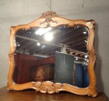 Meuble : Miroir ébéniste Blot à Mons en chene sculpté 1e moitié 20eS