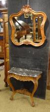 Meuble : ébéniste Blot à Mons Console de style régence chene tablette marbre et miroir 1e moitié 20eS
