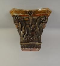 Sculpture bois polychrome - Chapiteau Italien - 19èS
