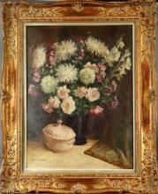 Tableau HST - Nature morte au bouquet fleuri - signé HOEBEKE Maguy