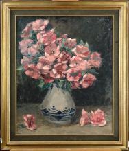 Tableau HST - Bouquet de fleurs roses dans un vase - signé HANCE Madeleine