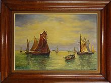 Tableau HST -Pecheurs italiens- daté 1957 signé et de *VERSCHOORE P.* (Paul) (1923 1989) 50x72cm cadre chene