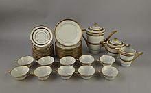 Céramique: Service à café/dessert en porcelaine de Limoges marque Paul Pastaud à la base: cafetière pot à lait à sucre 10T et s/t 12 assiettes à dessert (chev) (25pces)