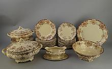 Céramique: Service à diner en faience Boch Fr Keramis modèle Dordrech taupe: soupière saucière légumier saladier plat rond 12 ass plates 12 creuses 12 à dessert (41pc)