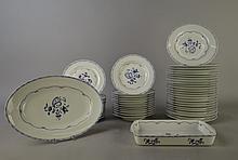 Céramique: reste de Service à diner en porcelaine de Paris Limoges décor Vieux Chine: plat ovale plat rect pour le four 24 assiettes plates 12 creuses 12 à dessert (50pces)