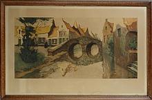 Estampe (2): aquatinte -Bruges- N.136/300 signé et de HEBBELINCK Roger (Bruxelles 1912 ) 245x195cm  et -Pont de Bruges- N.31/350 signé 35x70cm cadre bois s/v