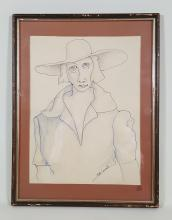 A Drawing of Woman with Hat Artwork in Glass Frame- Signed by Ruth Councell
