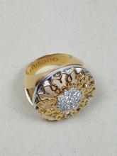 A Signed Vintage 18K Yellow & White Gold Flower Cocktail Ring with Diamonds by 'Miseno'- Italy