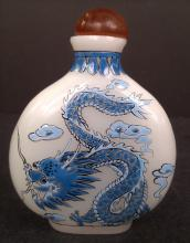 A peking glass snuff bottle hand painted blue dragons