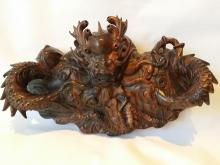 A Zitan Wood Finely Carved Mythical Figure