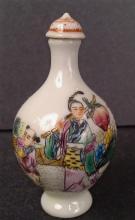 A porcelain glazed enameled snuff bottle with longevity god painting