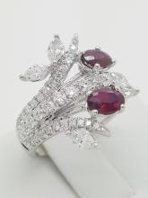 18k white gold ruby ring with marquise and round diamonds