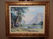Original oil on canvas painting of Yosemite Valley signed H.W. Knapp