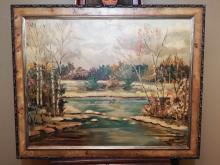 Original oil painting on board landscape- signed Jonas Lie