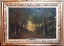 Oil on canvas painting of country road  R Gourdon