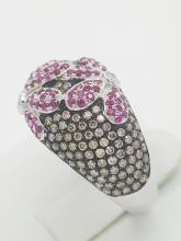 14k white gold brown diamond and ruby cocktail ring