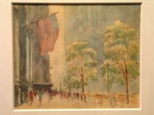 Fifth Avenue with Flags New York City, Water Color, by Henry Michael O'Conner.