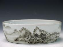 Chinese Grisaille Porcelain Brush Washer