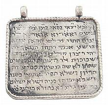 Silver amulet wrought with the names of angels