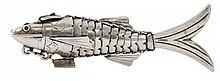 A Miniature Silver Besamim Fish, Stamped