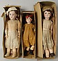 Lot of 3: German Bisque Dolls.