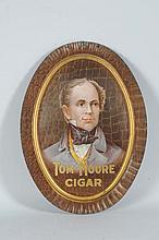 Tom Moore Cigar Oval Tin Sign.
