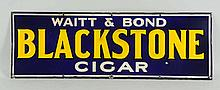 Black Stone Cigars Embossed Porcelain Sign.