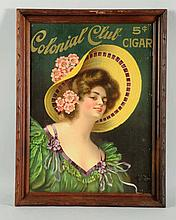 1910-1915 Colonial Club Cigar Paper Sign.