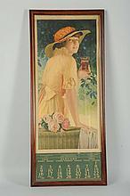 1916 Coca-Cola Calendar with Glass.