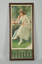 1917 Coca-Cola Calendar with Bottle.