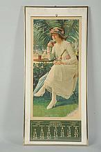 1917 Coca-Cola Calendar with Glass Shown.