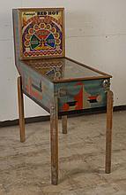 1940 Keeney Red Hot Pinball Machine.