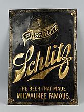 Schlitz Beer Tin Litho Advertising Sign.