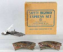 Marx Tin Litho & Plastic Safety Highway Race Set.