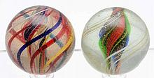 Lot of 2: Swirl Marbles.