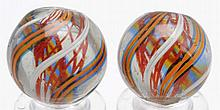 Lot of 2: Same Cane Red Latticino Swirl Marbles.