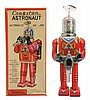 Tin Litho Battery Op. Cragstan Astronaut Robot.