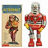 Tin Litho Battery Op. Cragston Astronaut Robot.