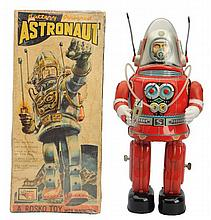 Tin Litho Battery Op. Rostro Astronaut Robot.