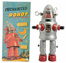 Tin Litho & Painted Battery Op. Mechanized Robot.