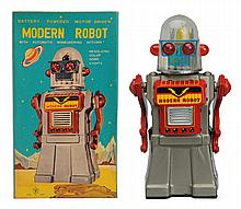 Tin Litho & Painted Battery Op. Modern Robot.