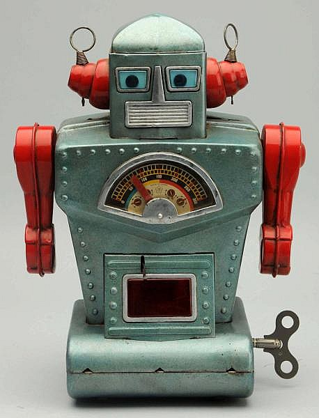 Tin Litho & Painted Diamond Planet Robot.