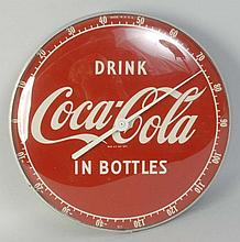Coca-Cola in Bottles Clock Thermometer.